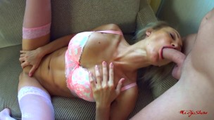 Anal cream and rimming with hot blonde.